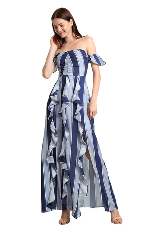 Striped Ruffle Maxi Dress - namshi dress dubai