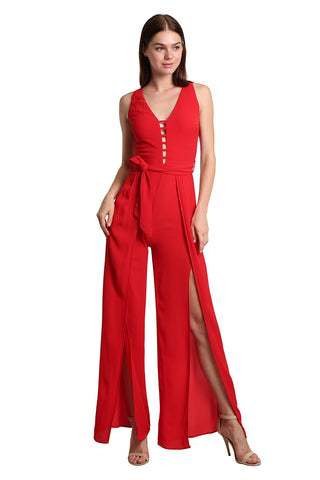 Red Jumpsuit with Front Detail - namshi dress dubai