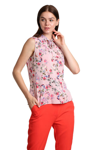 Flowery Sleeveless Pink Shirt - namshi dress dubai