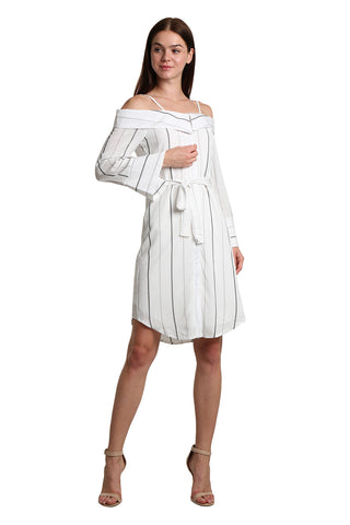 Striped Detail Self Tie Dress - namshi dress dubai