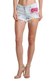 Flower Detail Denim Short - namshi dress dubai