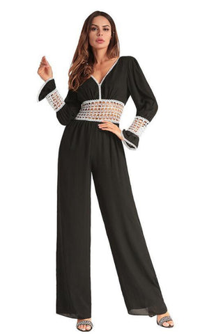 V-Neck Jumpsuit with Lace Detail - namshi dress dubai