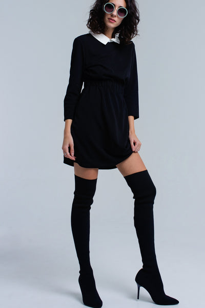 Black Dress With Elastic Waist - namshi dress dubai