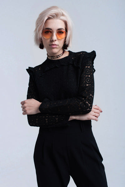 Black Shirt With Lace and Ruffle - namshi dress dubai