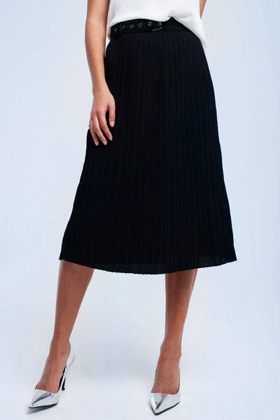 Black Midi Skirt With Belt - namshi dress dubai