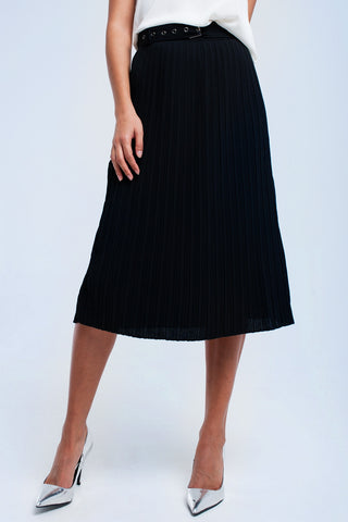 Black Midi Skirt With Belt