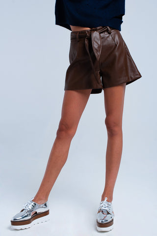 Brown Short Imitation Leather - namshi dress dubai