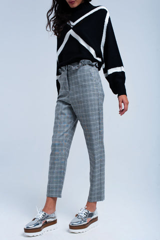 Gray Tartan Pattern Pants - namshi dress dubai