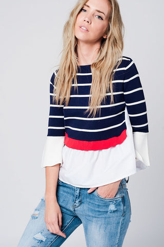 Navy Striped Sweater With Shirt