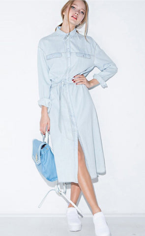 Shirt Denim Midi Dress - namshi dress dubai