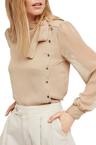 Side Buttons Beige Blouse