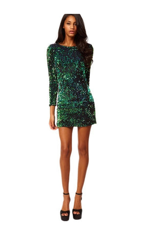 Green Sequin Mini Dress - namshi dress dubai