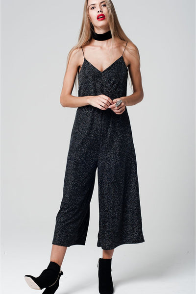 Metallic Jumpsuit With Glitter Detail - namshi dress dubai