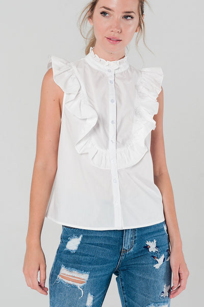 White Shirt With Ruffle Detail - namshi dress dubai
