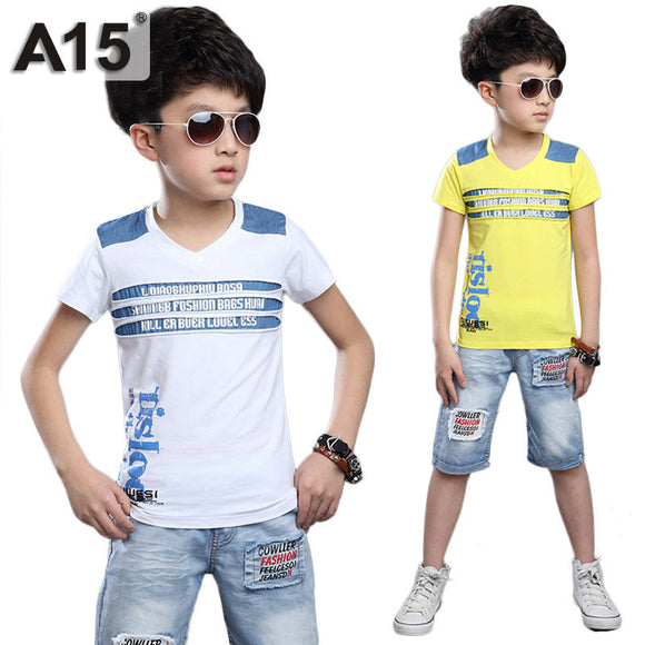 Boys Clothing Set T Shirts Denim Jeans Shorts Size 5 6 7 9 10 Year