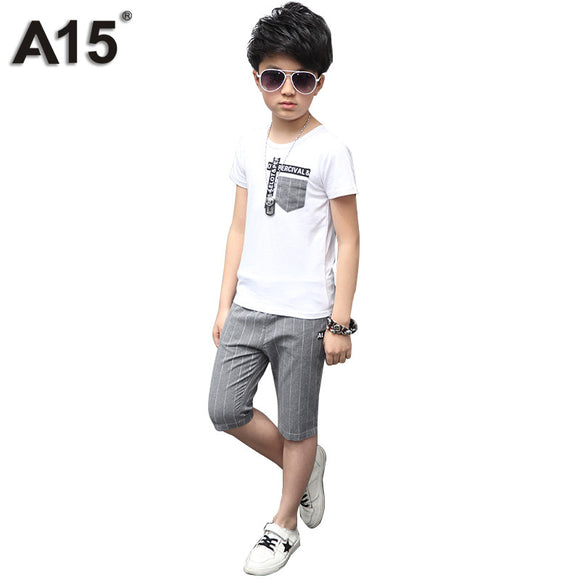 Kids Clothes Boys T-Shirt Stripped Shorts Suits Size 6 8 10 12 14 Year