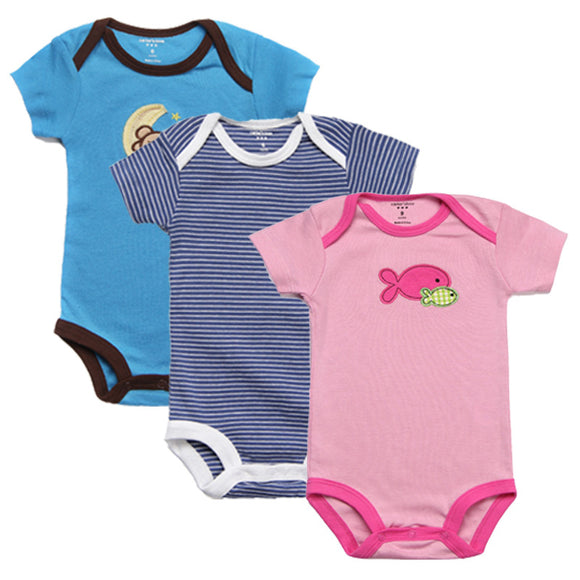 3Pcs Baby Rompers Summer Baby Clothes Unisex Newborn