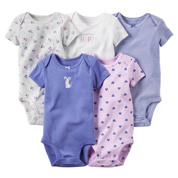 5Pcs Baby Rompers Summer Baby Clothes Unisex Newborn
