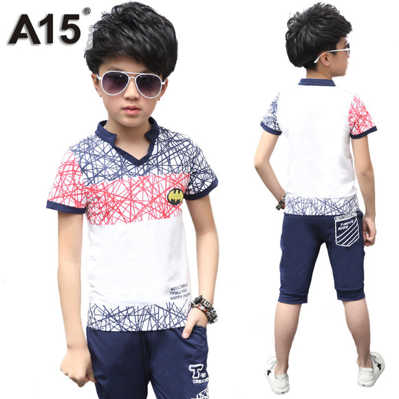 Boys Summer Set Children T-Shirt Pants Sports Suit Age 6 8 10 12 14 Year