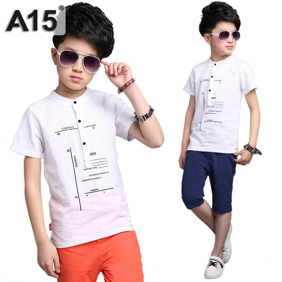 Fashion Kids Clothes Boys Summer Set Print Shirt Short Pants Boy Set 6-14 Year