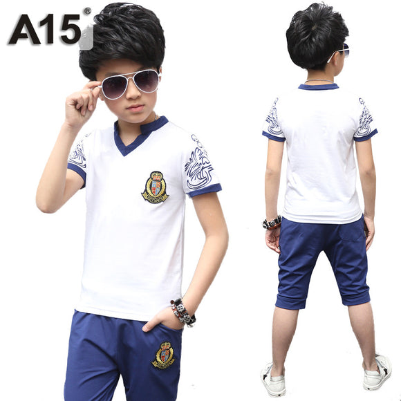 Boys Clothes Set Summer New Fashion T Shirt Pants 2pc Age 10 12 14 Year