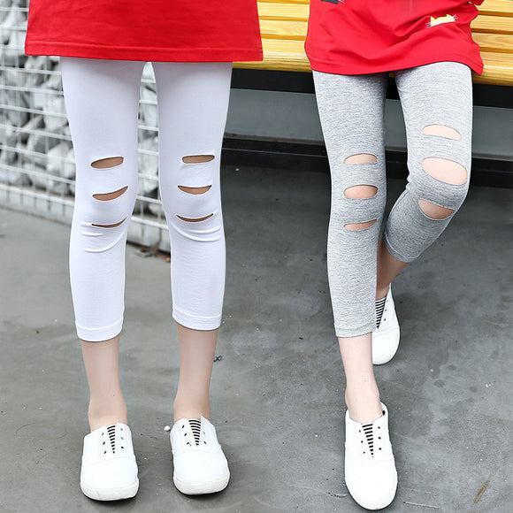 Children Calf-length Trousers Top Quality Girls Holes Fashion