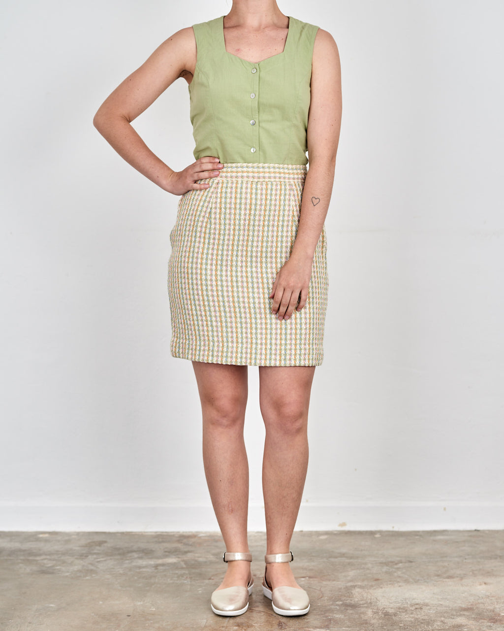 Pastel Rainbow Gingham Mini Skirt