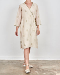 Cream Olive Printed Silk Wrap Dress