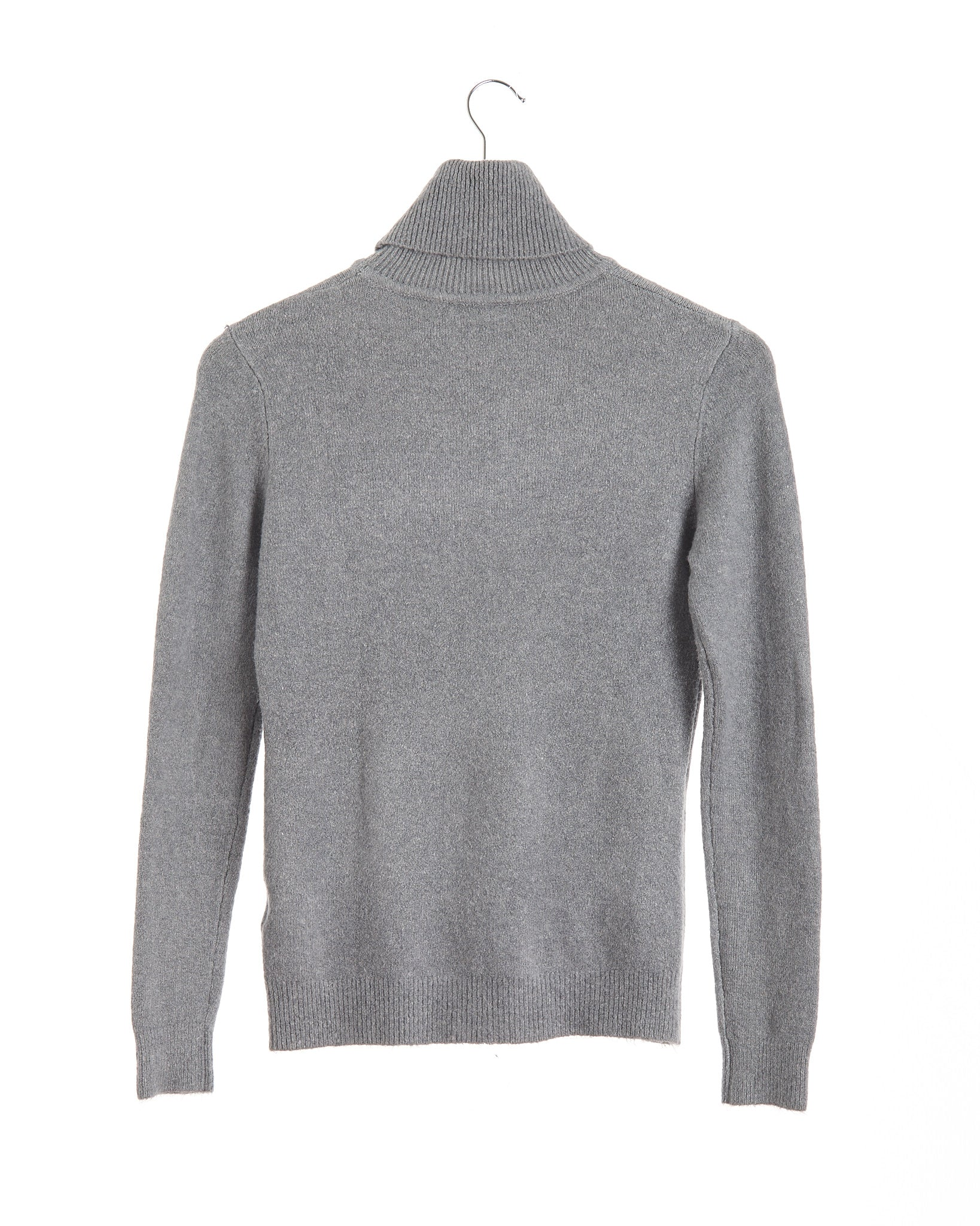 Heather Grey Cashmere Polo Neck Jersey