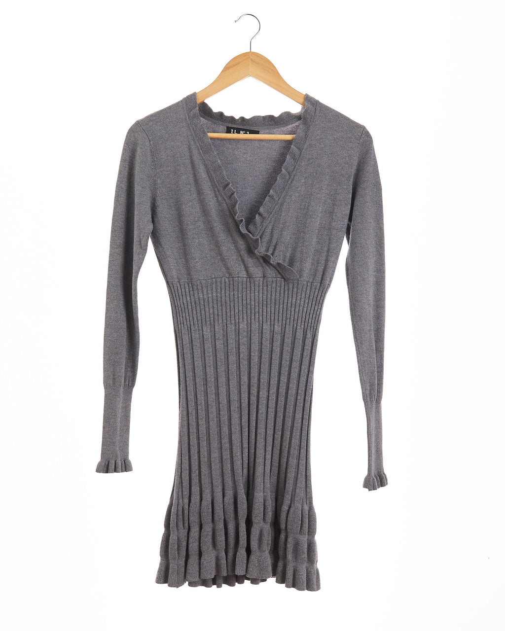 Dove Grey Ruffled Cashmere Knit Dress
