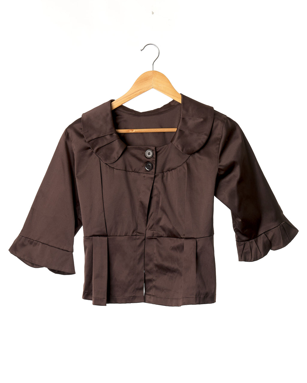 Vintage Chocolate Brown Satin Bolero