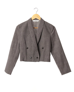 Grey Plaid Vintage Crop Blazer
