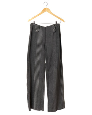 Striped Grey Velour Vintage Trousers