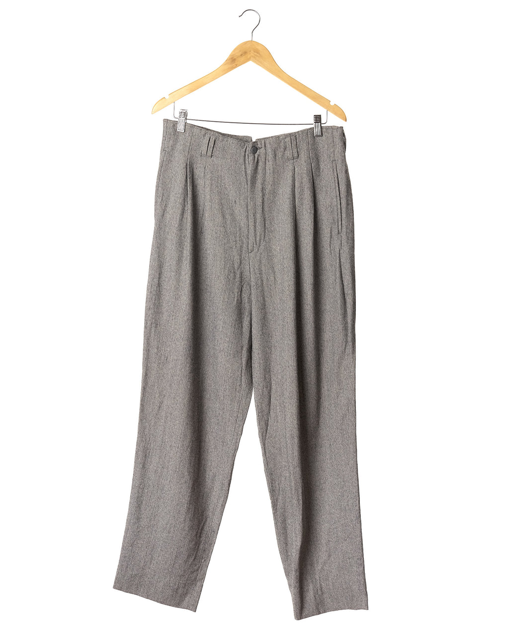 Light Speckled Grey Pleated Vintage Wool Trousers