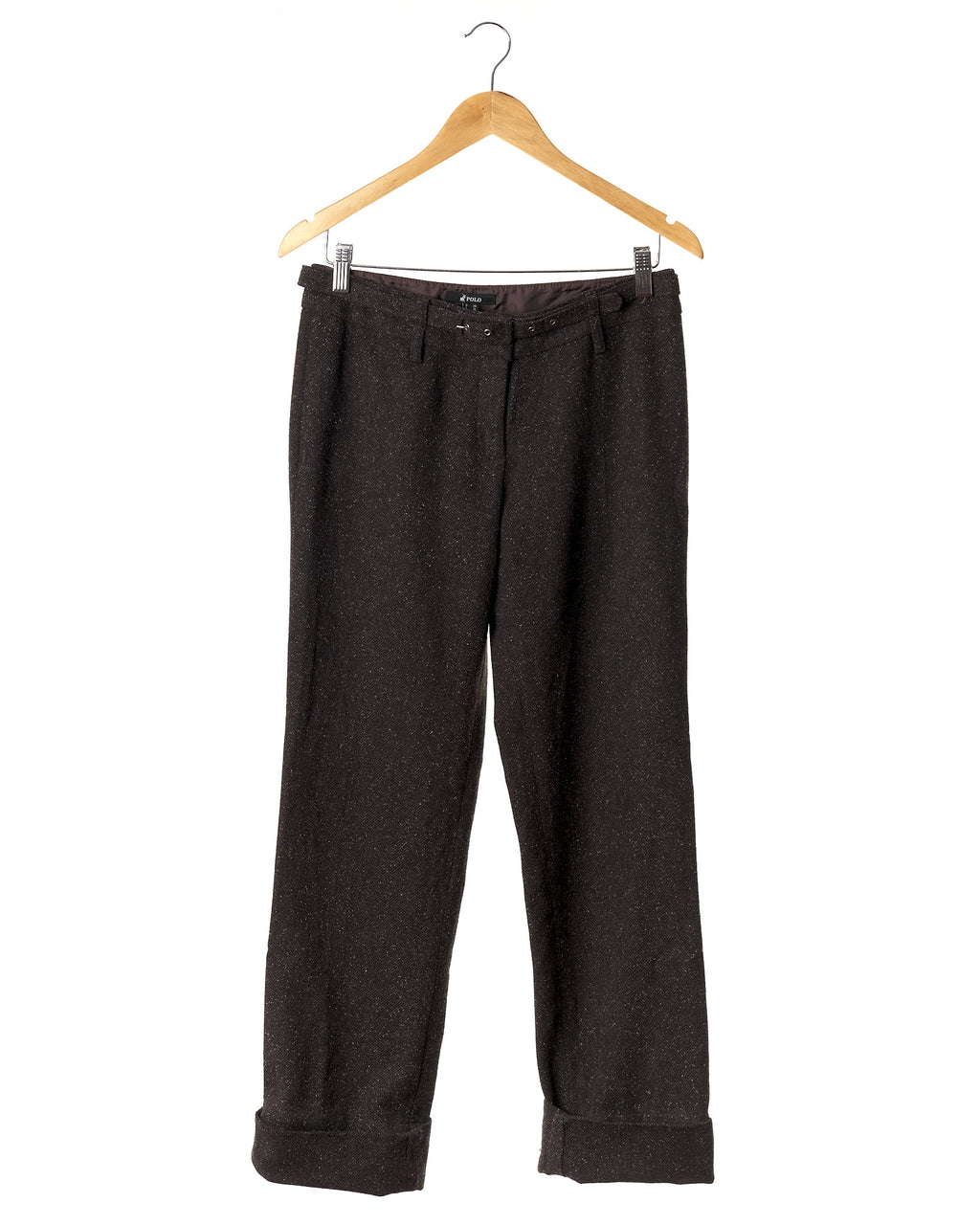Cocoa Wool Herringbone Cuffed Trousers