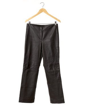 Chocolate Brown Leather Designer Trousers