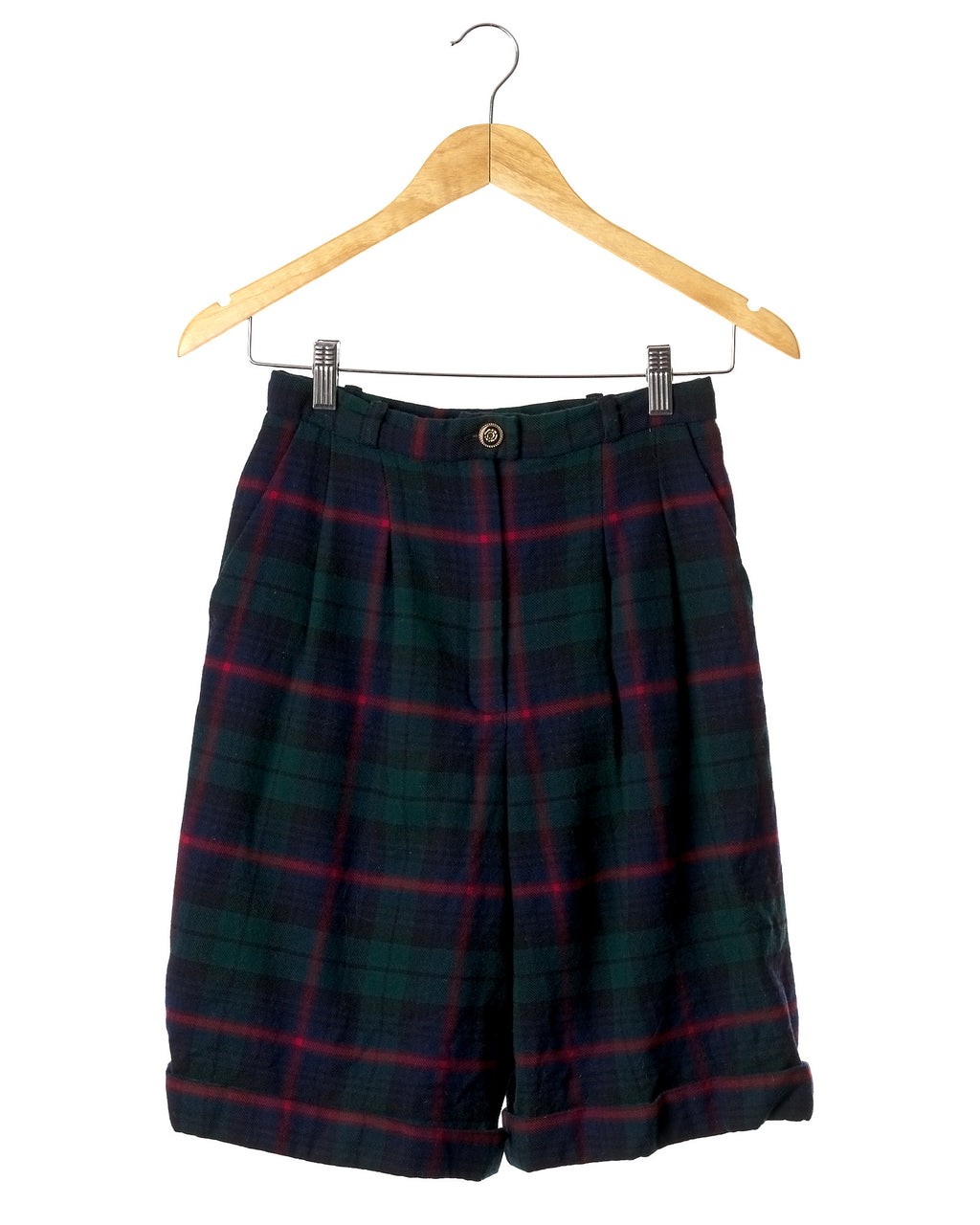 Vintage Pleated Plaid Wool Shorts