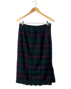 Vintage Pleated Plaid Wool Skirt