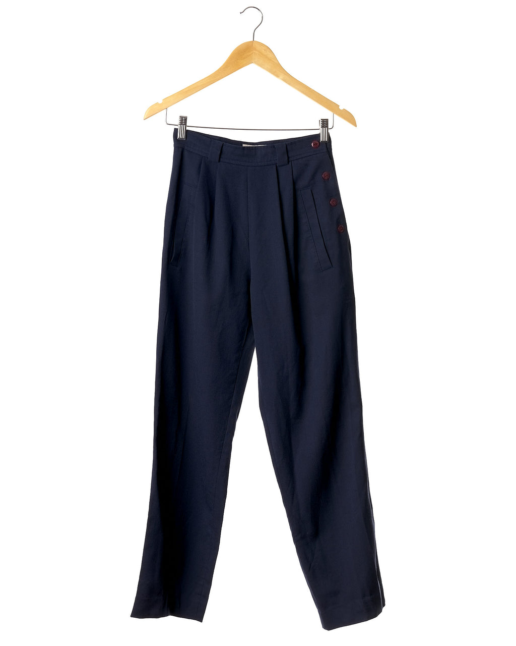 Navy Vintage Luxury Wool Trousers