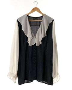 Vintage Black and White Ruffled Blouse