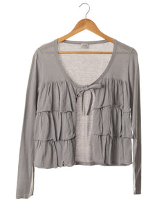 Dove Grey Ruffle Top