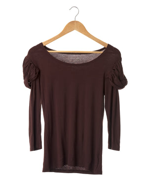 Chocolate Brown Stretch Knit Top