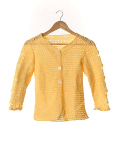 Buttercup Yellow Vintage Knit Cardigan