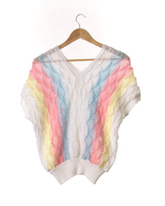 Pastel Rainbow Vintage Knit Top