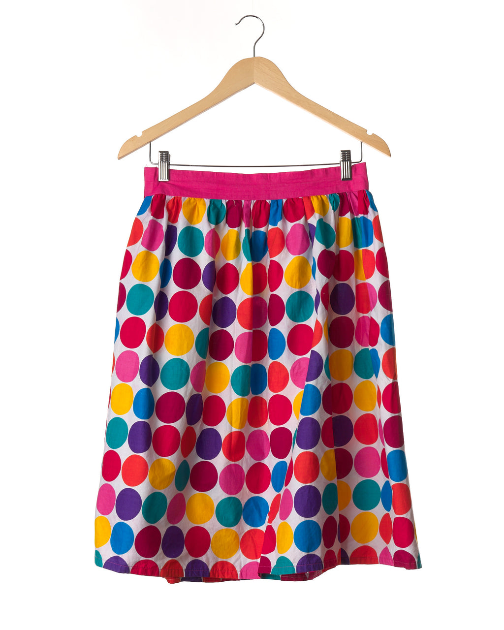Rainbow Polka Cotton Vintage Skirt