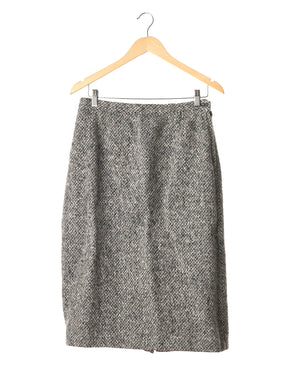 Black and White Speckled Vintage Wool Skirt
