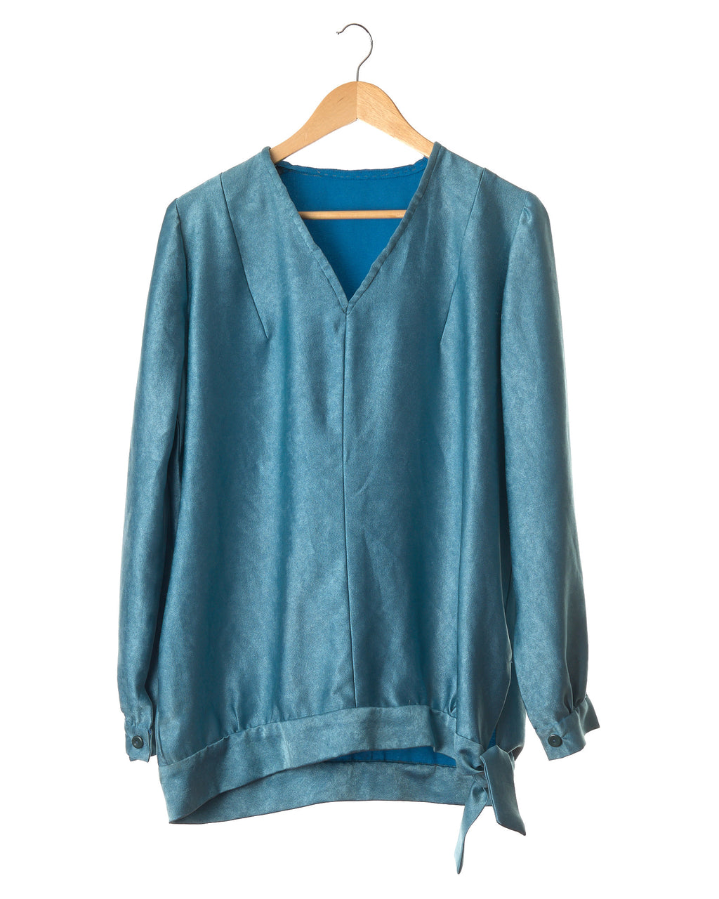 Teal Shine Vintage Tie Top