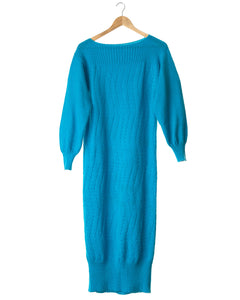 Azure Blue Vintage Knit Dress