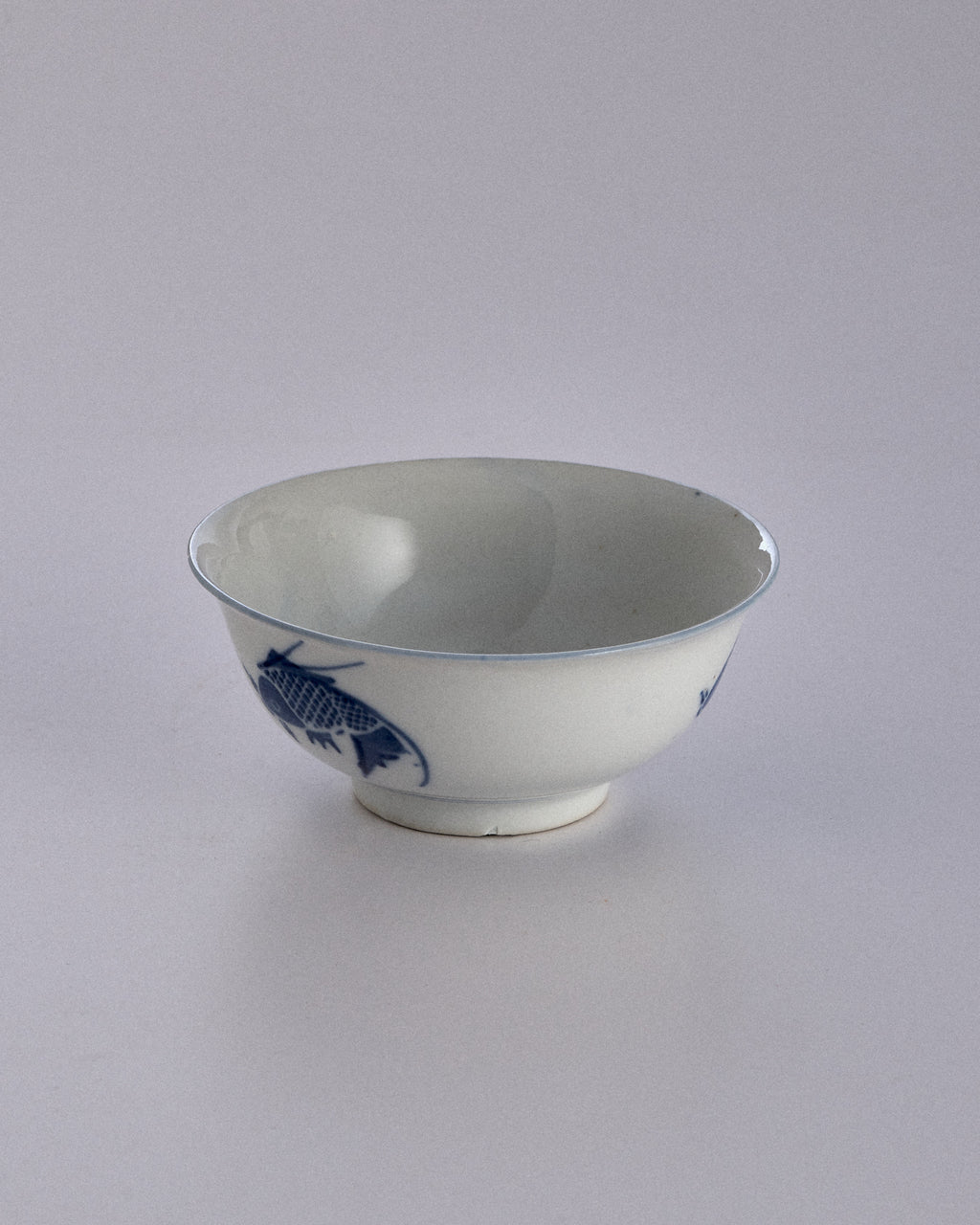 Blue Vintage Chinese Fish Print Bowl