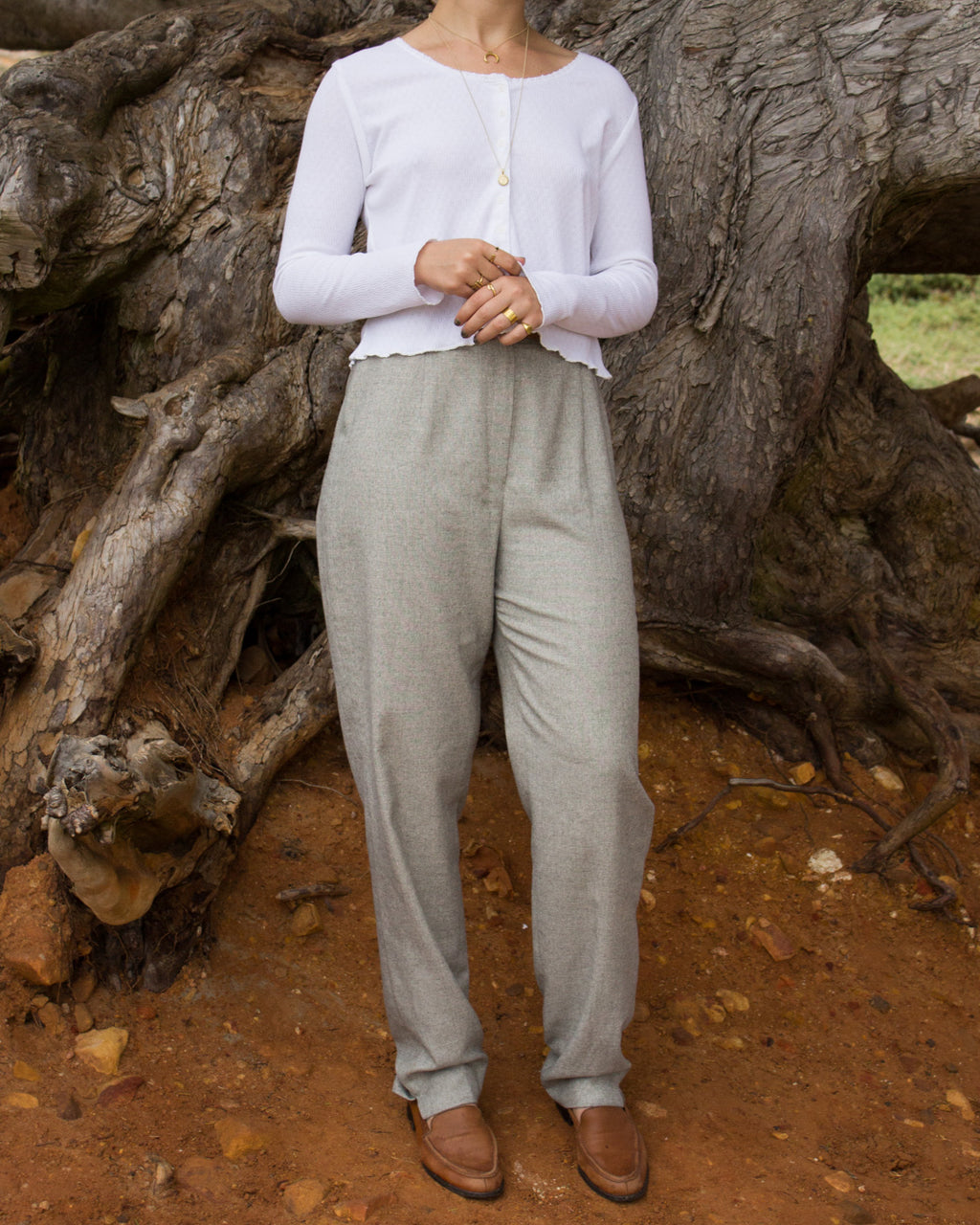 Pale Grey Pleated Trousers